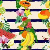 Seamless pattern with tropical fruits and citrus fruits, leaves. Vector illustration.