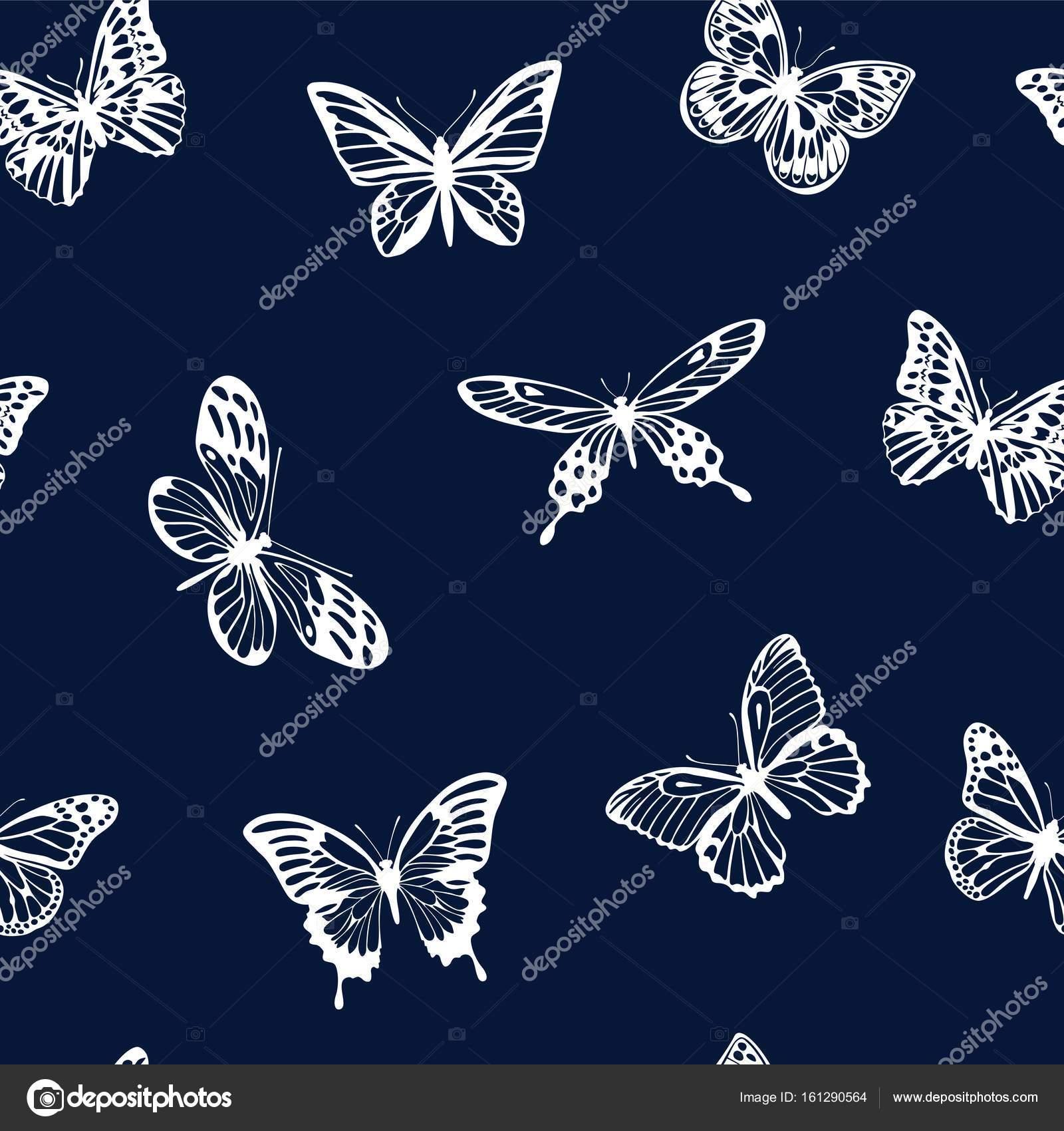 dcb4062abaa4 Vektoros mintát sziluettek a sötét kék háttérképet egy lapos stílusú  pillangók. Alkalmas csomagoló anyag- és textilipari termékek, a design, a  kézműves ...