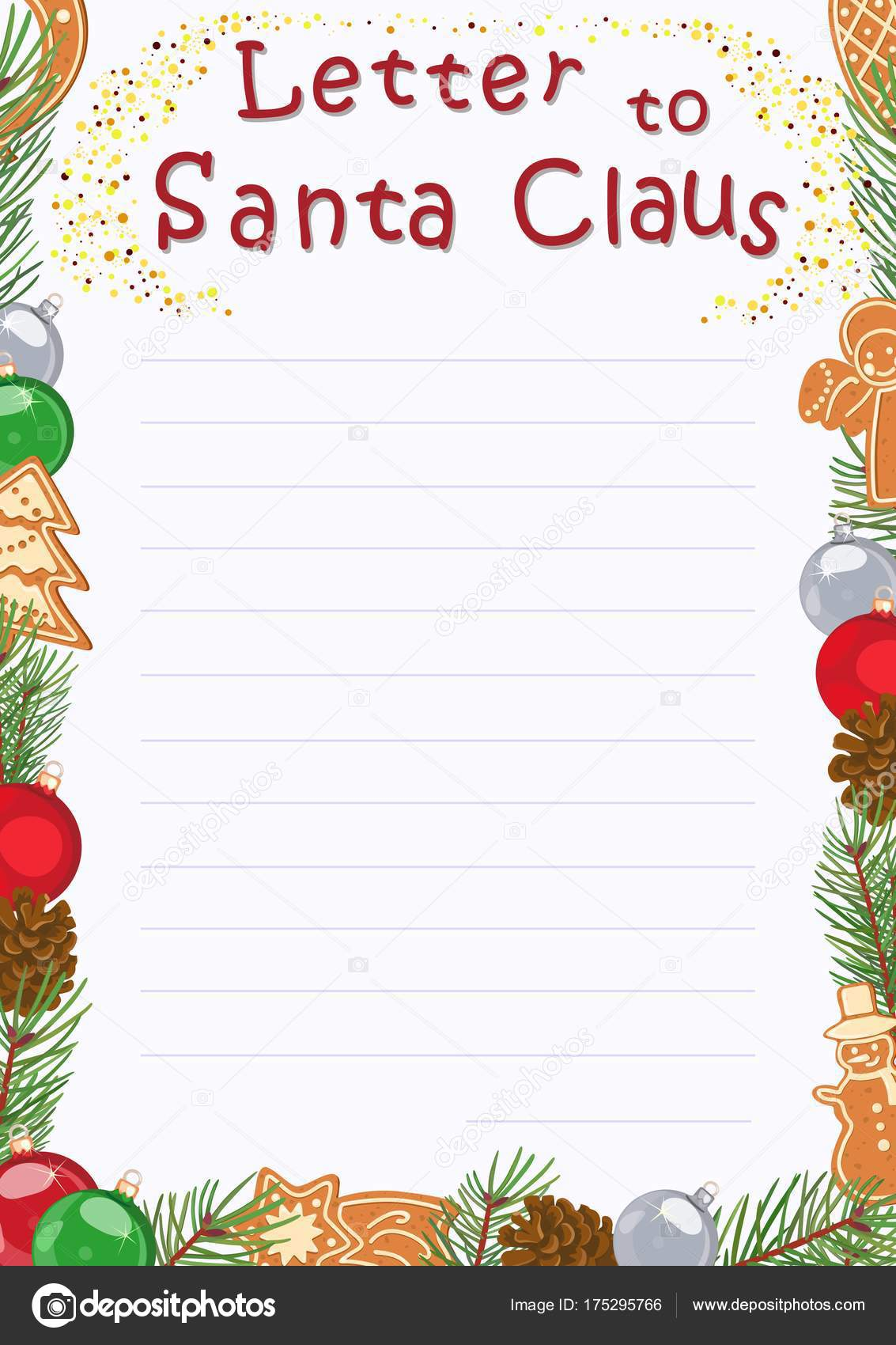 New Year Greeting Card Letter To Santa Claus Vector Illustration