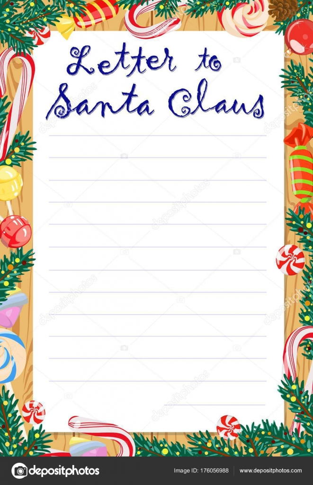 Carta de Santa Claus a los niños, la plantilla para el relleno ...