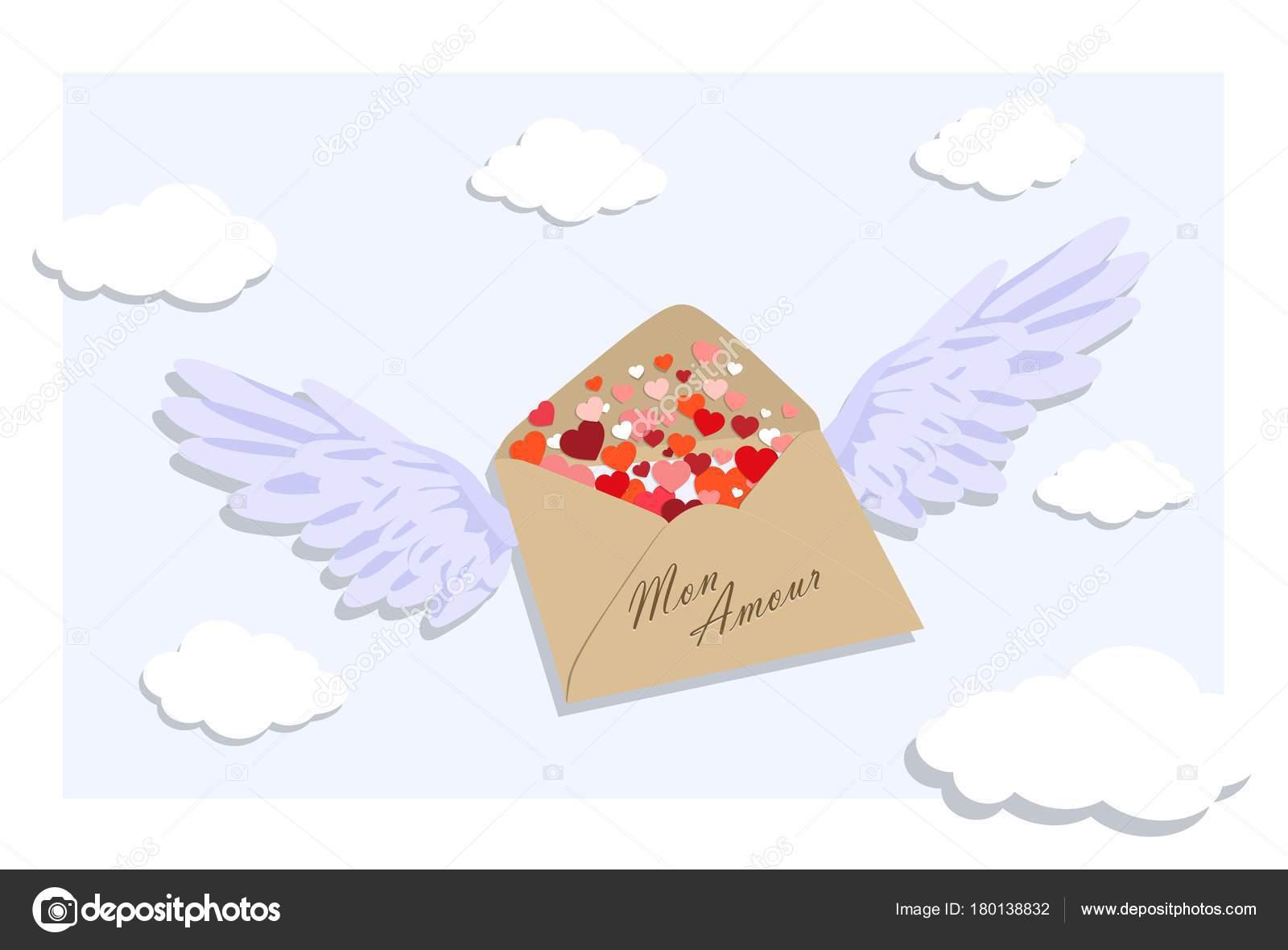 Umschlag Mit Valentines In Form Von Herzen Vektor Illustration