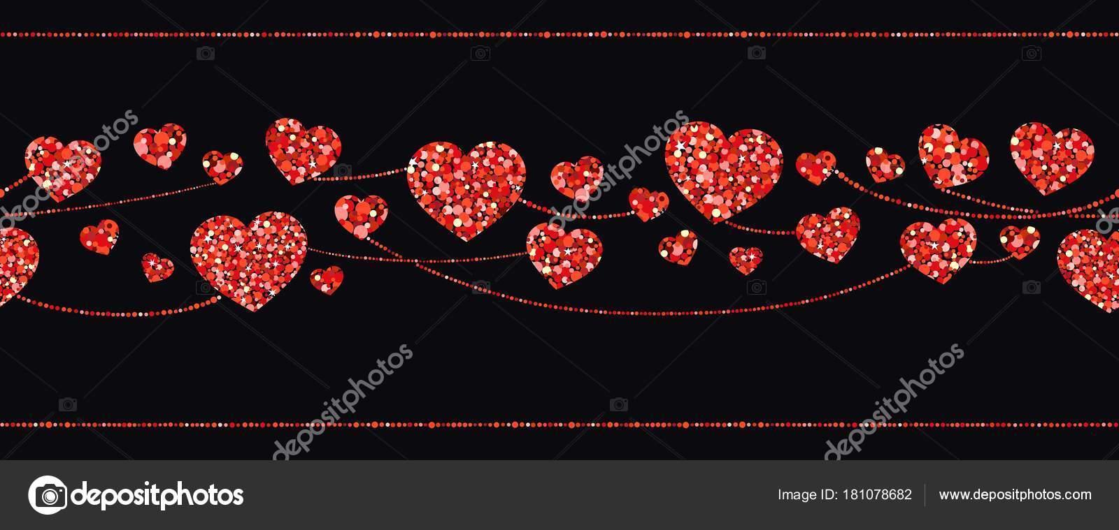 Nahtlose Girlanden aus roten Herzen. Vektor-illustration ...