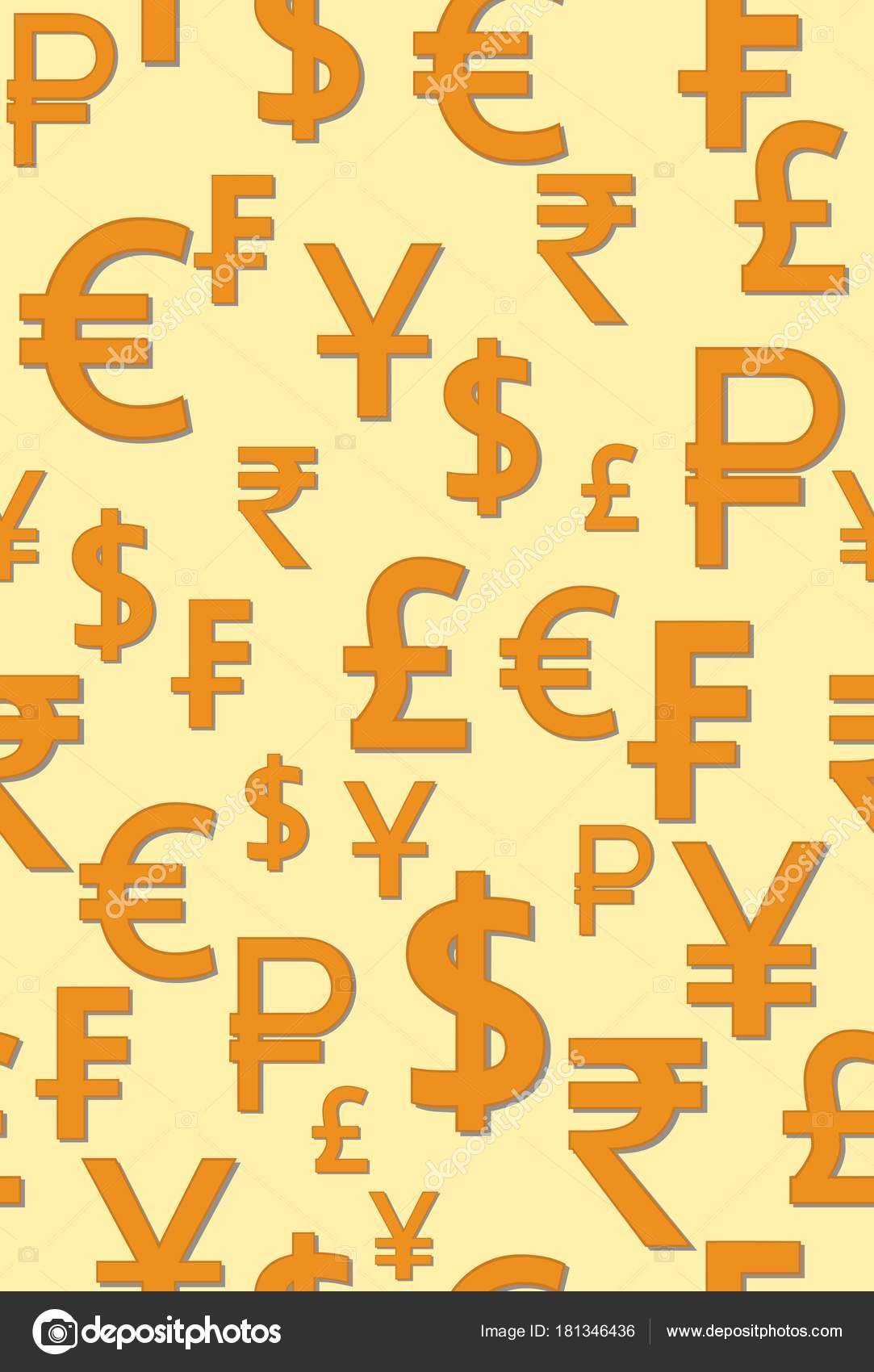 Seamless Pattern With The Image Of The World Money Signs Vector