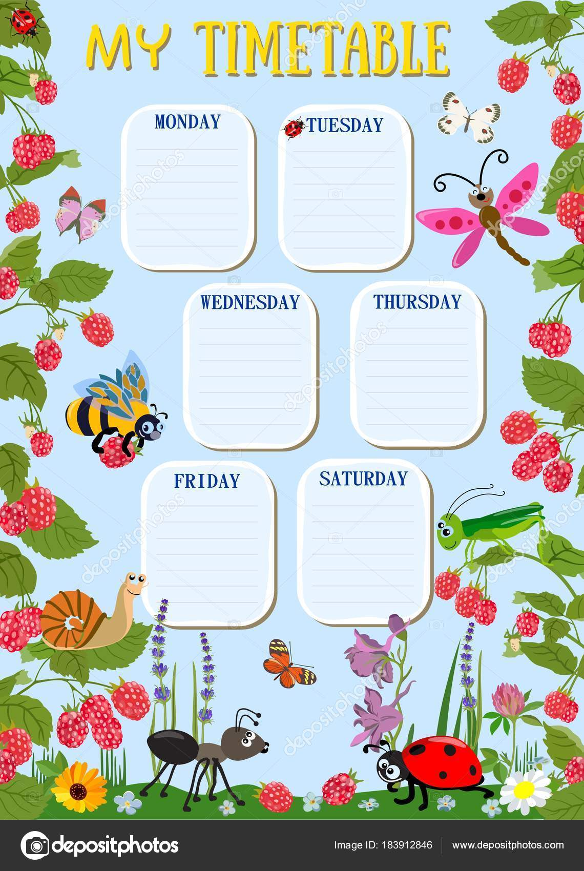 Design template for weekly schedule with cute insects. Vector ...