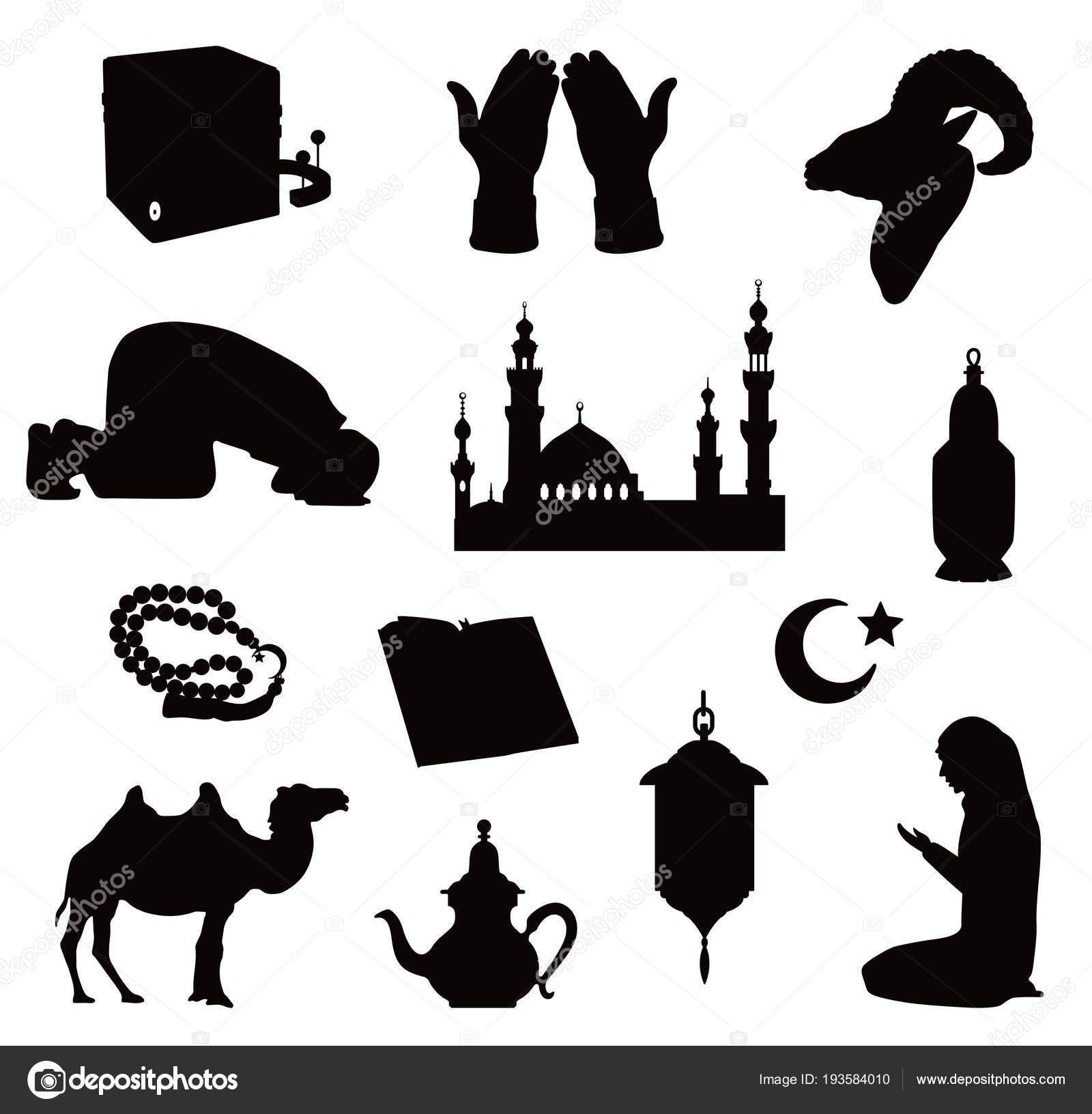 Black Silhouettes Of Muslim Symbols Vector Illustration Stock