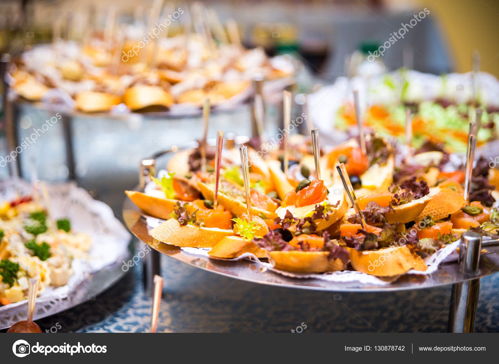 buffet table, Canape, sandwiches, snacks, holiday table, sliced ...