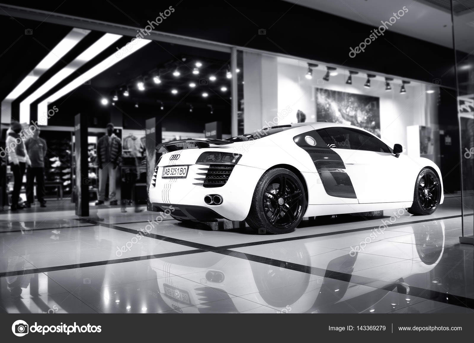 Audi R8 Concept Car.Audi Showroom.Presentation. Presentation Of The New  Model Audi Car   Audi R8.Front Of The Car,front Side, Logo Audi.