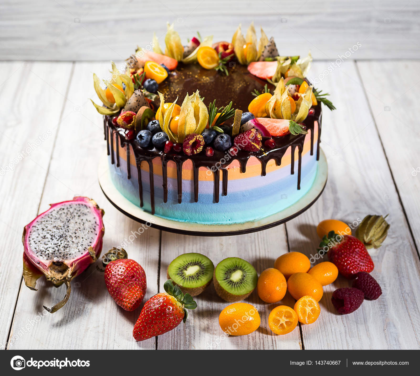 Colourful Fruit Cake: Chocolate Cupcakes With Colored Layers, Decorated With