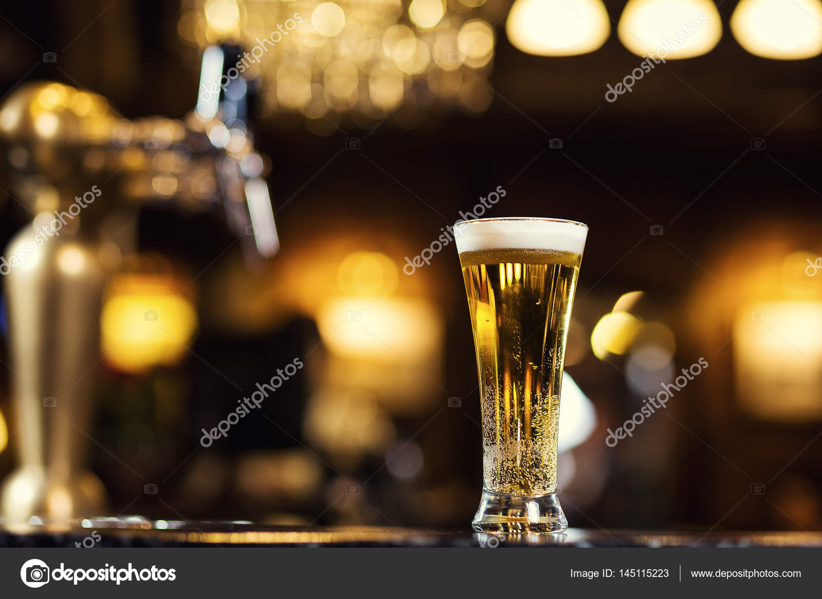 Beer, a glass of fresh cold beer on the bar.A pub.Bar.Restaurant ...