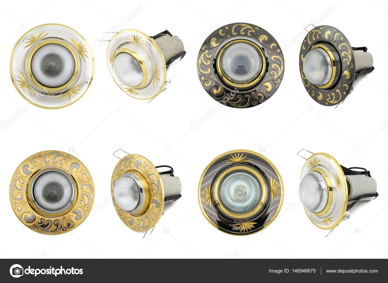 Juego de lamparas halogenas en fondo blanco colecci n de - Tipos bombillas halogenas ...
