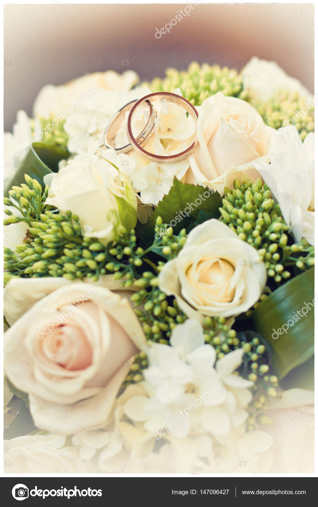 Wedding Rings Lie On A Beautiful Bouquet Roses Bridal Accessories European American Photo By Bondvit