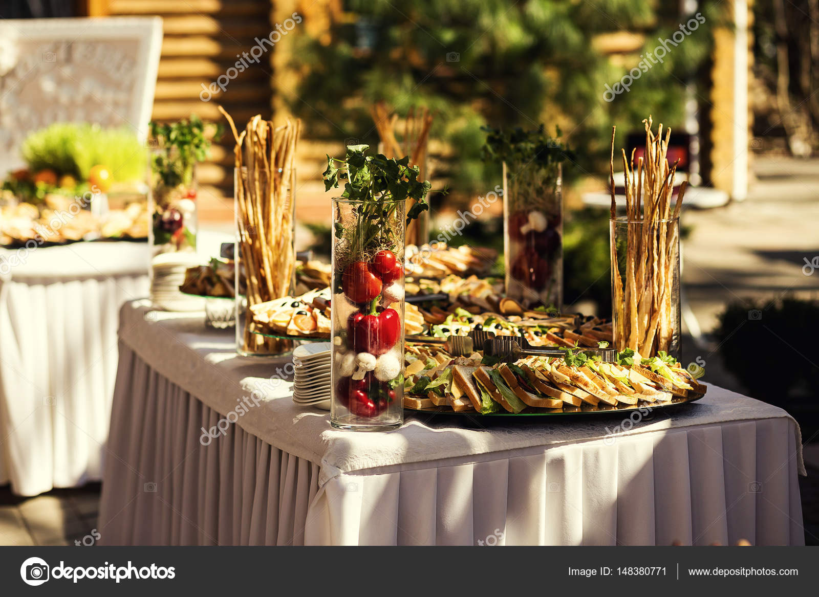 Buffet Table Canape With Salmon Sandwiches Snacks Holiday Table - Catering table setting