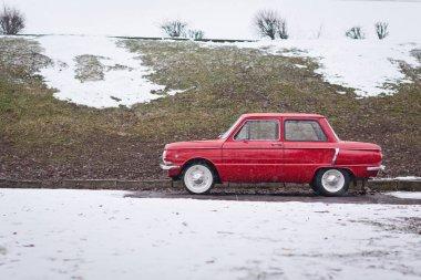 Vinnitsa, Ukraine - 09 February 2013.Old red vintage soviet car