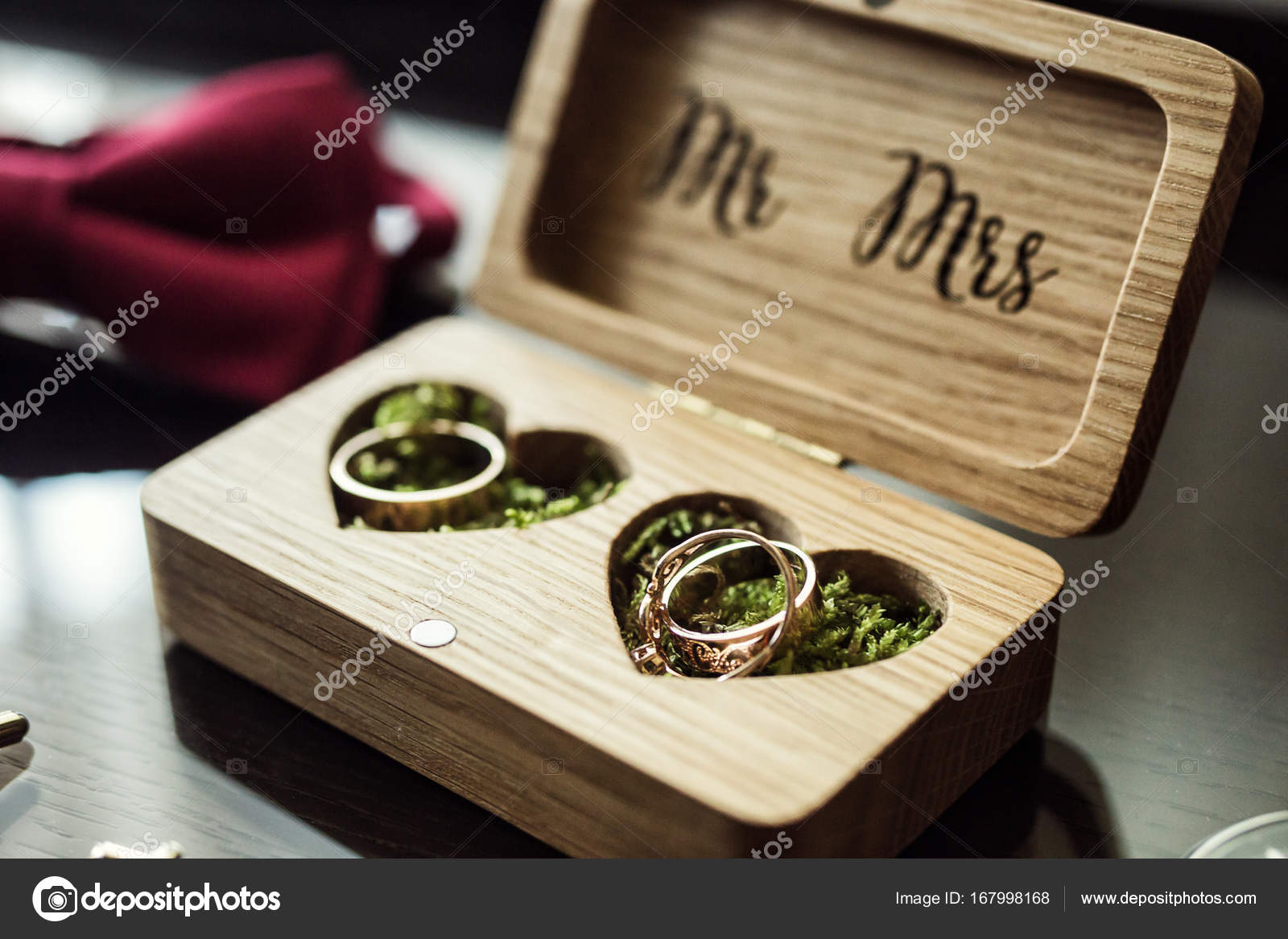 wedding rings lie in the wooden boxbridal accessories European