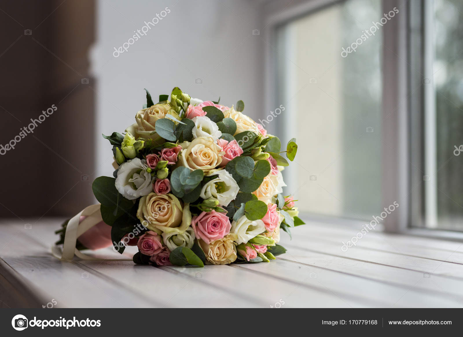 Beautiful Bridal Bouquet Lying On The Table A Beautiful Wedding