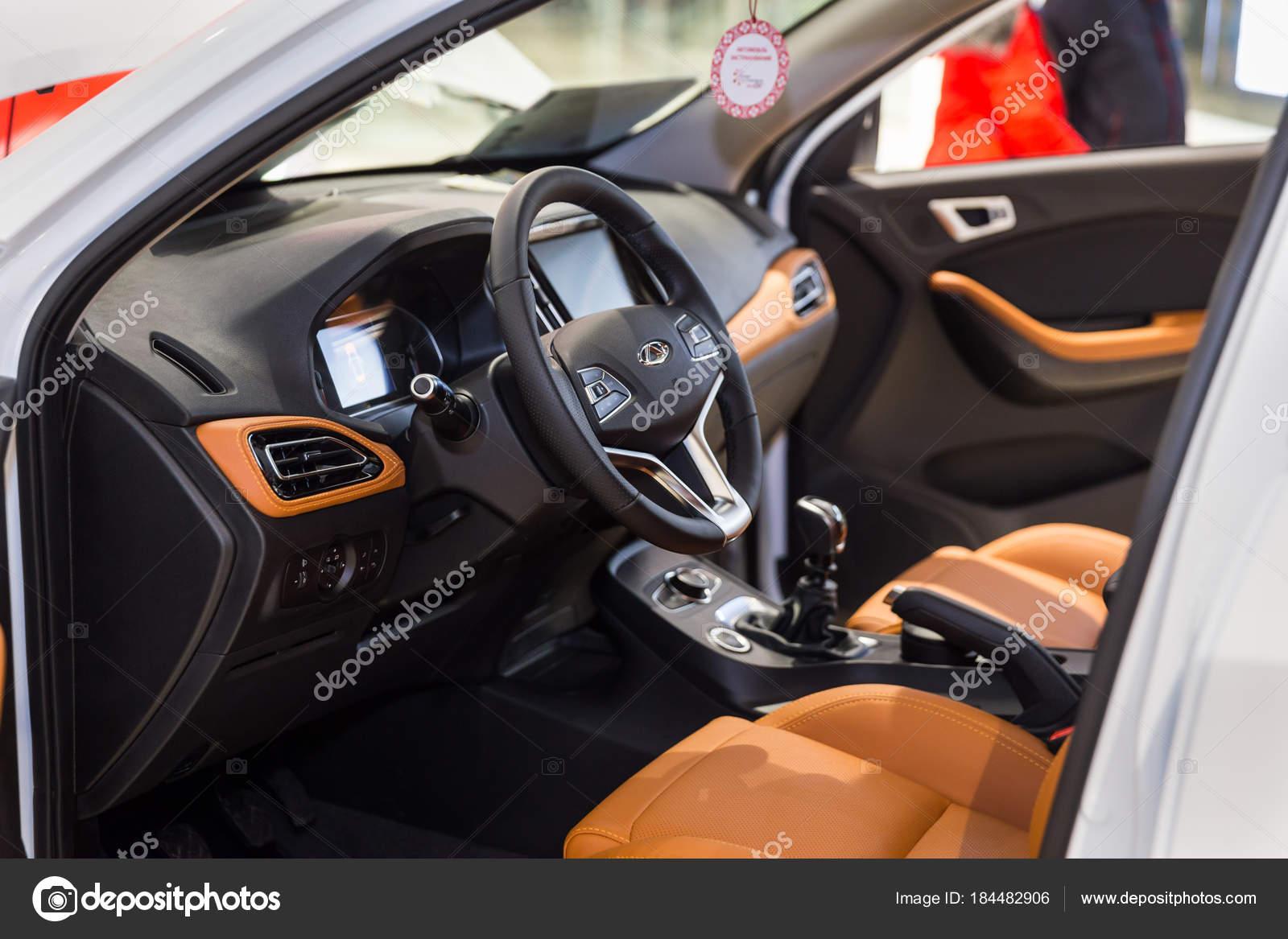 vinnitsa ukraine february 10 2018 white chery tiggo 7 concept car interior stock. Black Bedroom Furniture Sets. Home Design Ideas