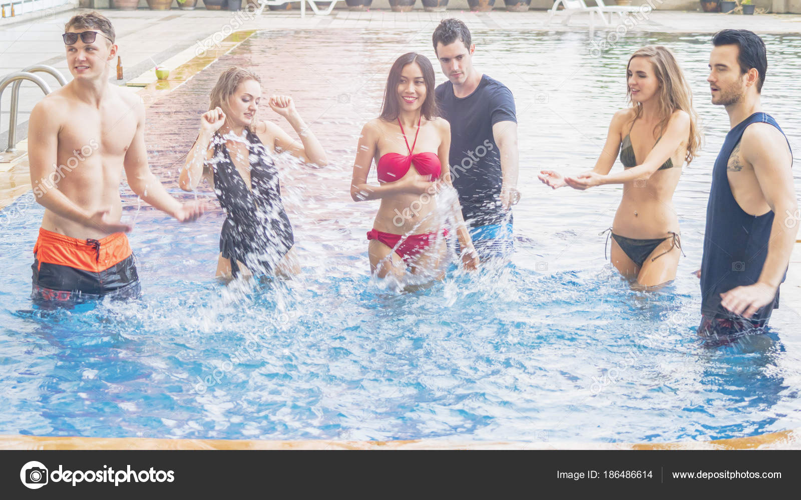 01c7893e123d8 friends having party and dancing in a swimming pool - Fashion of underwear  summer beach bikini slim ...