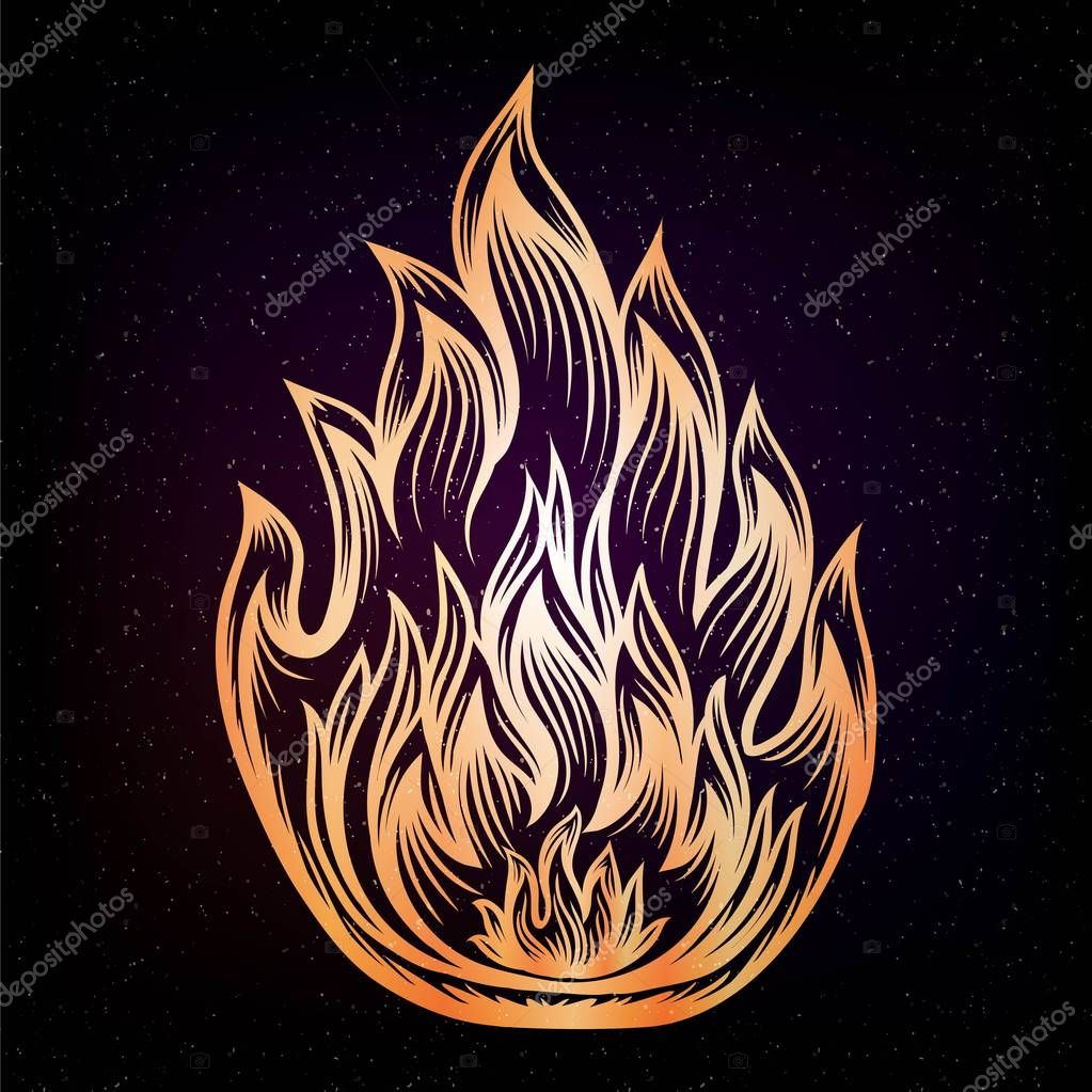 Coloriage Feu De Foret.Icone Incendie Style Filigrane Elegante Ligne Art Zentangle Tatouage