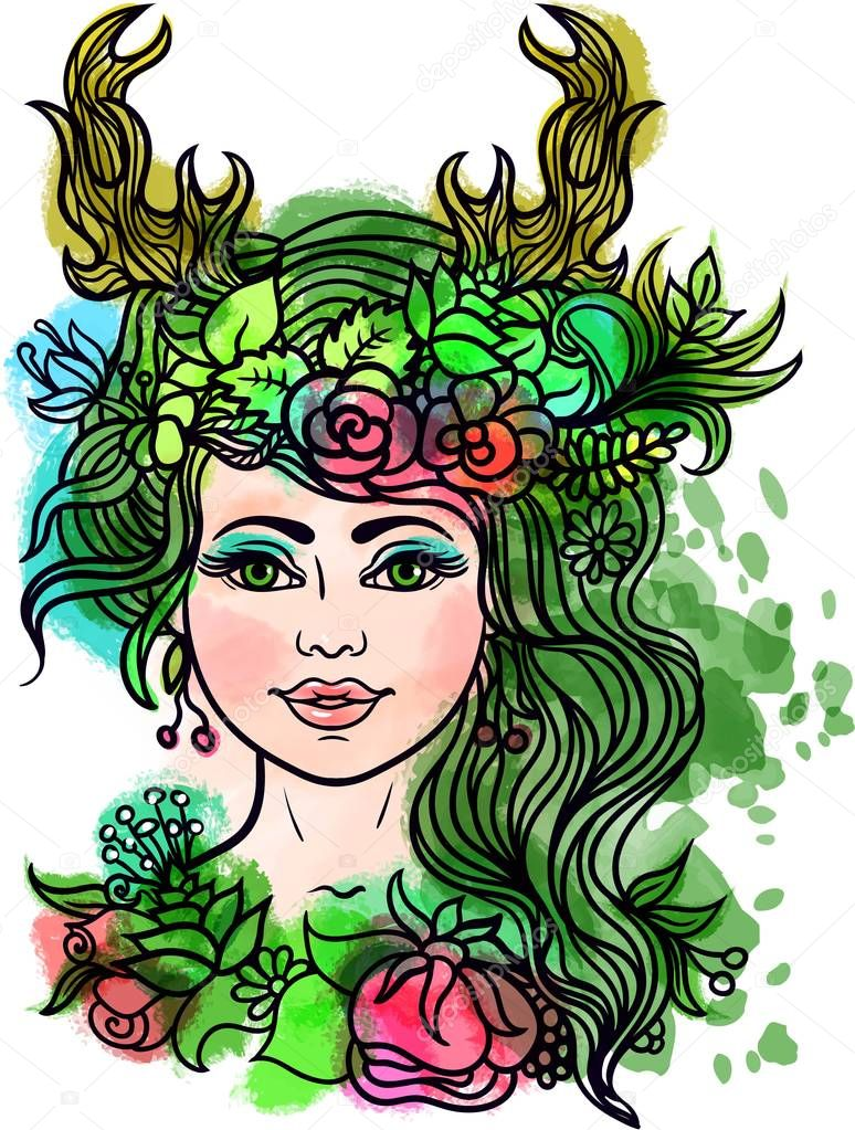 Goddess Deer Horns Forest Nymph Wreath Flowers Herbs Tattoo Coloring ...