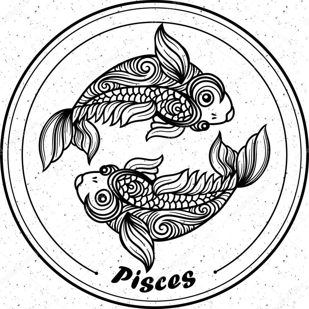 Detaillierte Fische Aztekischen Filigrane Kunst Zentangle Linienstil ...