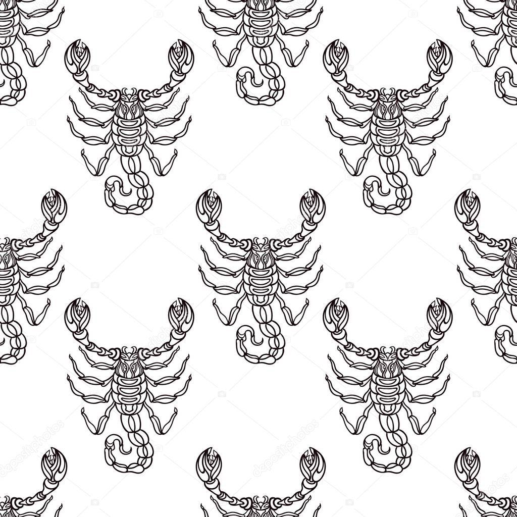 Detaillierte Nahtlose Muster Mit Skorpion Aztec Filigrane Kunst