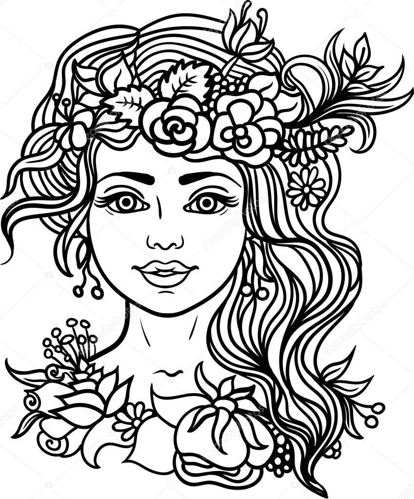 Belle Femme Coloriage Nymphe Foret Avec Guirlande Fleurs Herbes