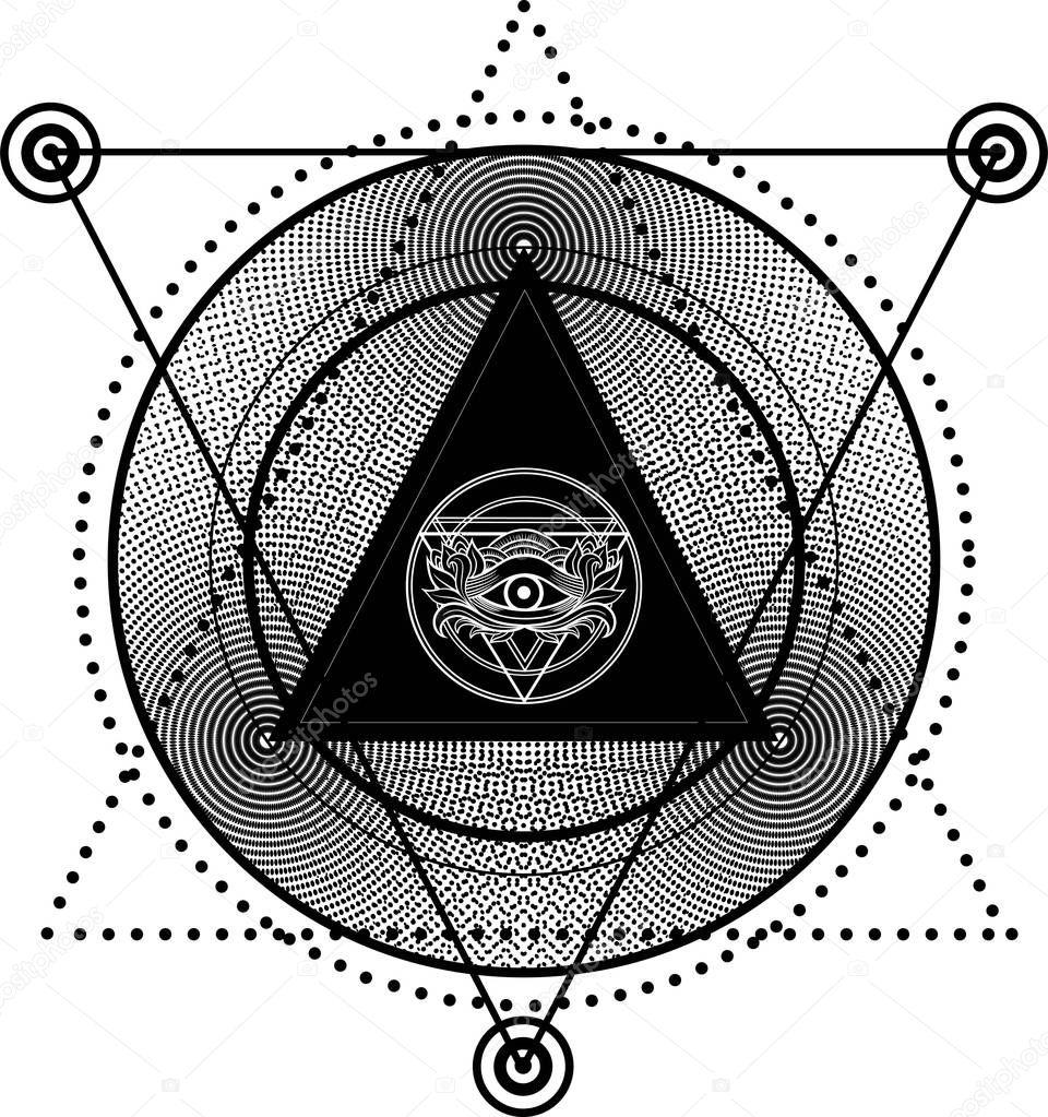 Blackwork tattoo eye of providence stock vector shik shik masonic symbol all seeing eye inside triangle pyramid halftone abstract background sacred geometryspirituality occultism isolated vector illustration buycottarizona Image collections