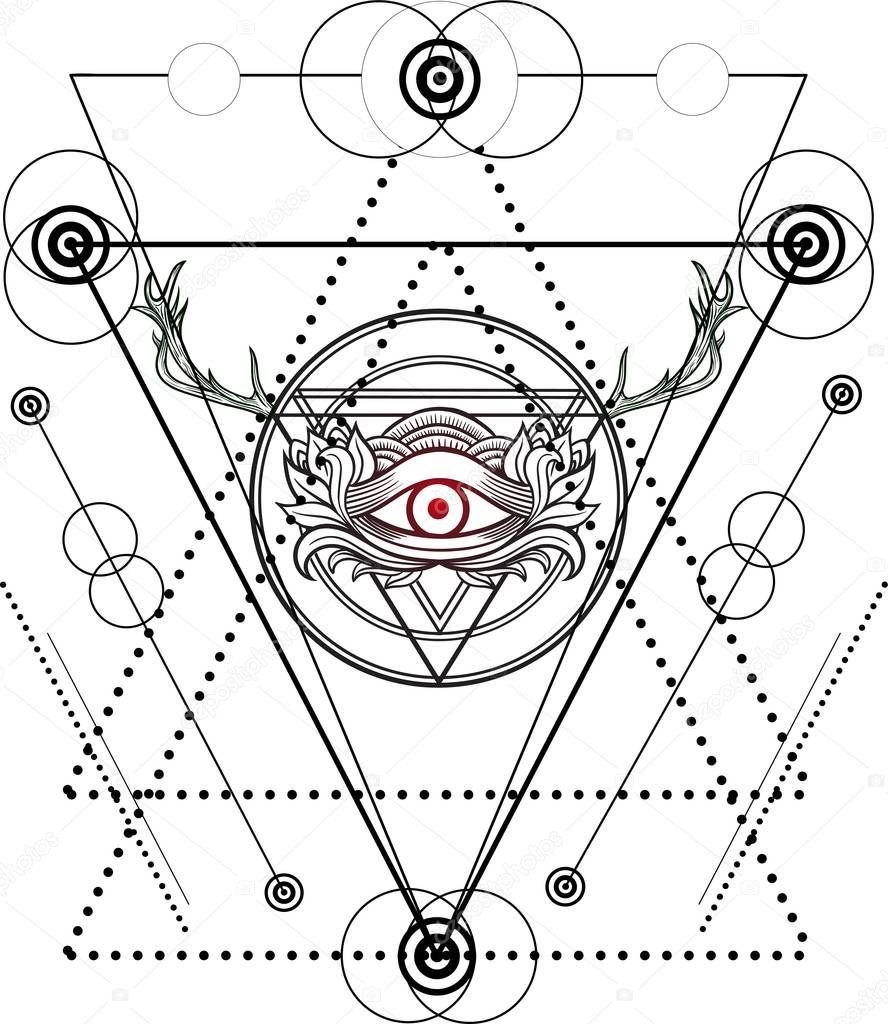 Blackwork Tatuaż Oka Opatrzności Grafika Wektorowa Shik