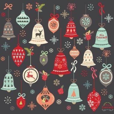 Chalkboard Vintage Christmas Bell Elements