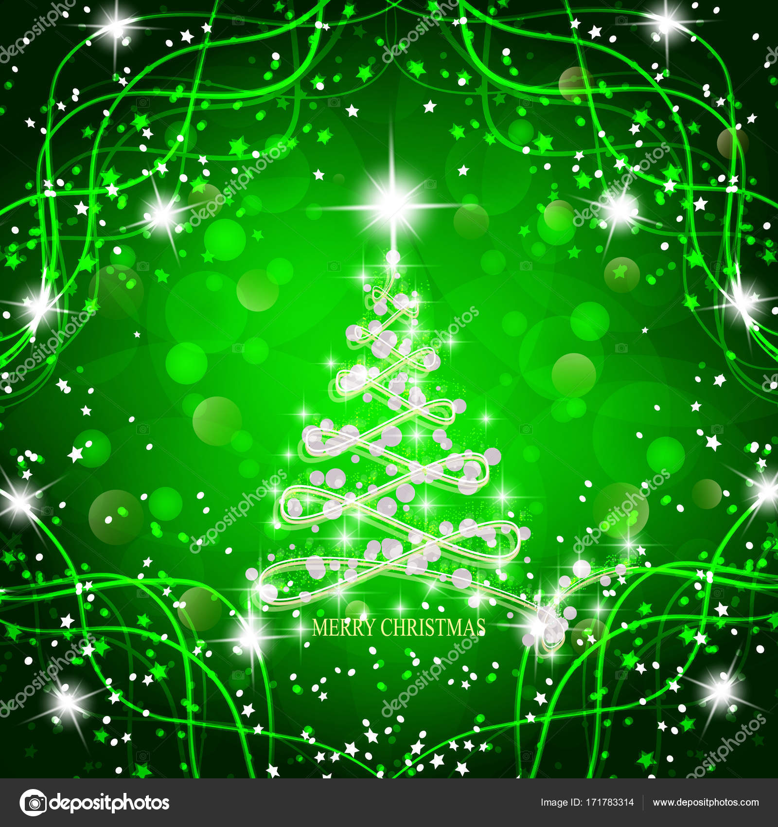 Abstract background with christmas tree and stars. Illustration in ...