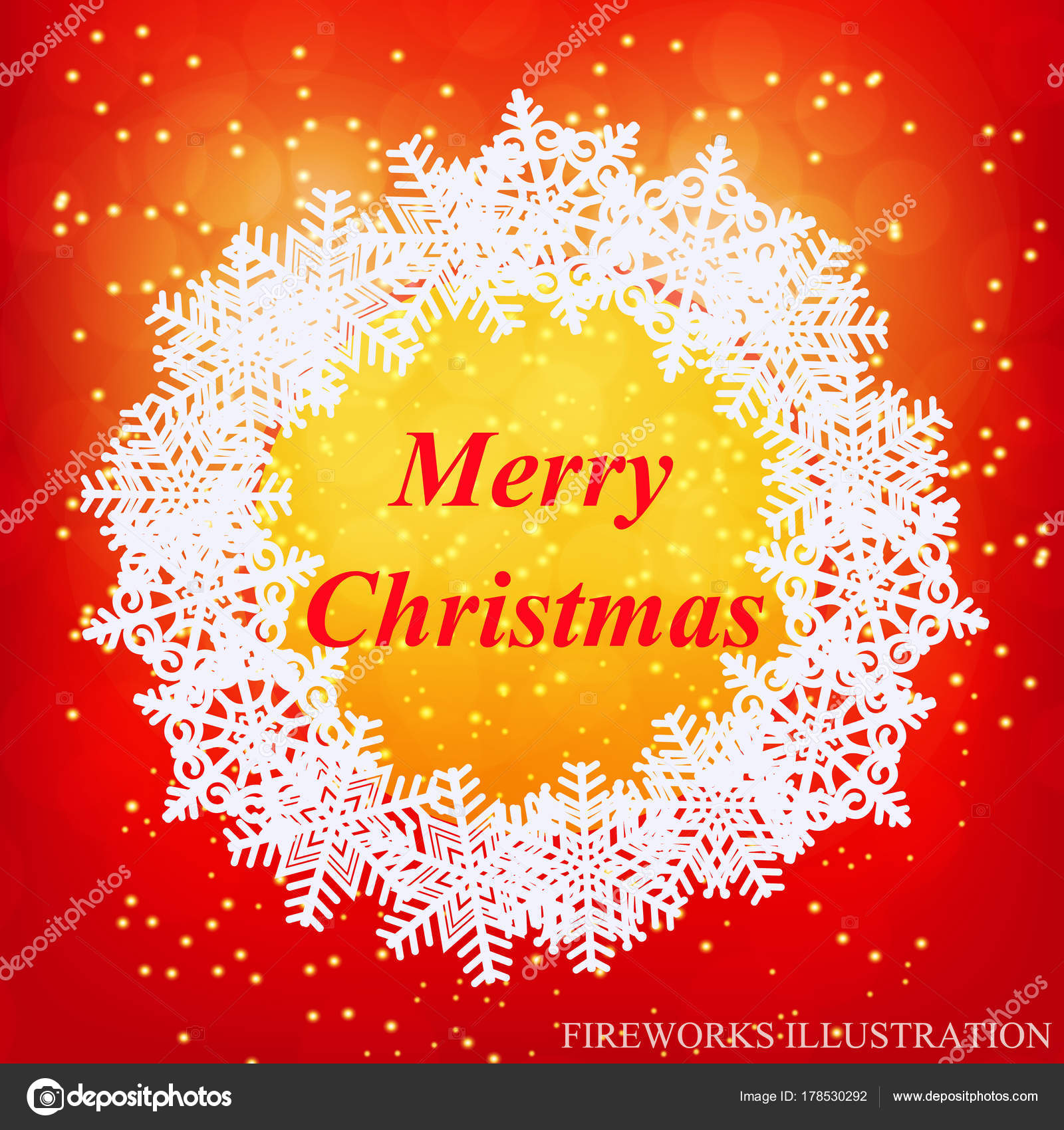 Merry Christmas Greeting Card New Year Template Brightly Colorful