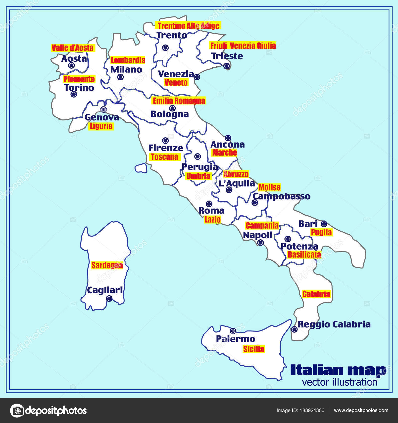 Italy Map With Italian Regions Vector Stock Vector