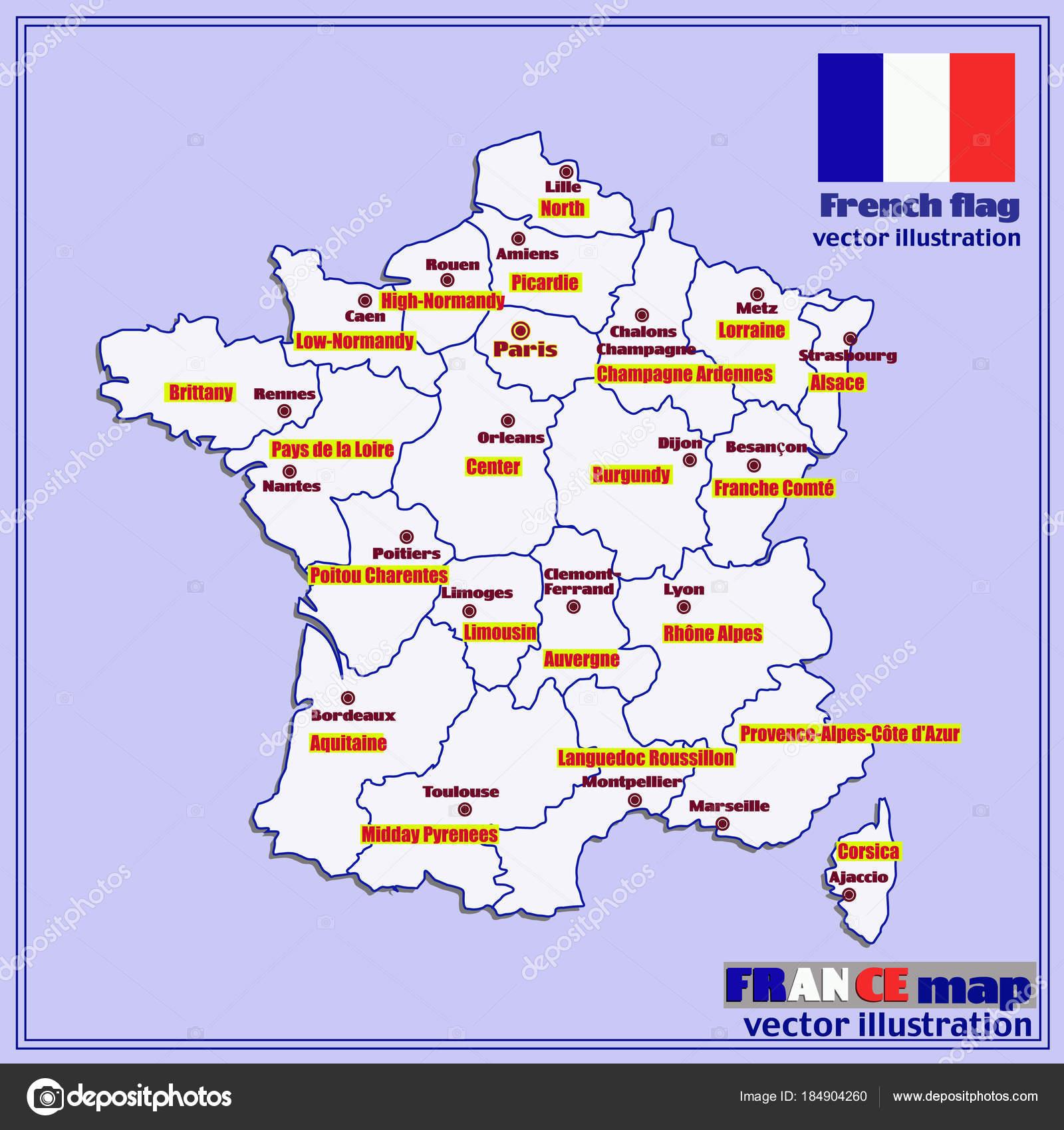 Mappa Della Francia Con Regioni Francesi Vector