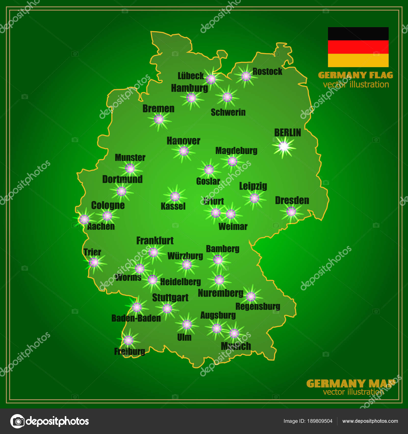 Map of Germany with cities . Vector. — Stock Vector ...