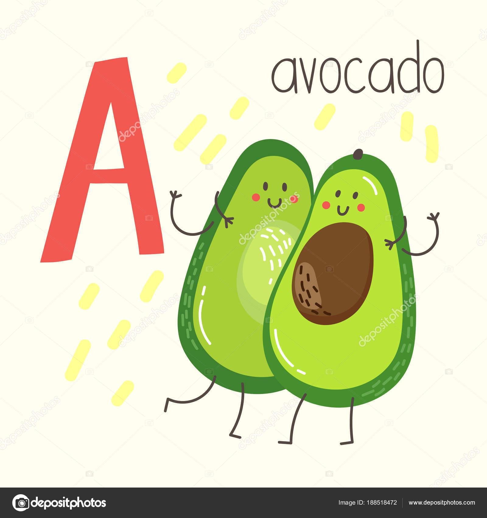 Letter Cute Cartoon Avocado Vector Illustration Alphabet