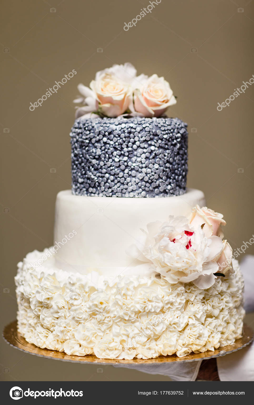 Multi Level Wedding Cake With Pink Flowers Stock Photo A