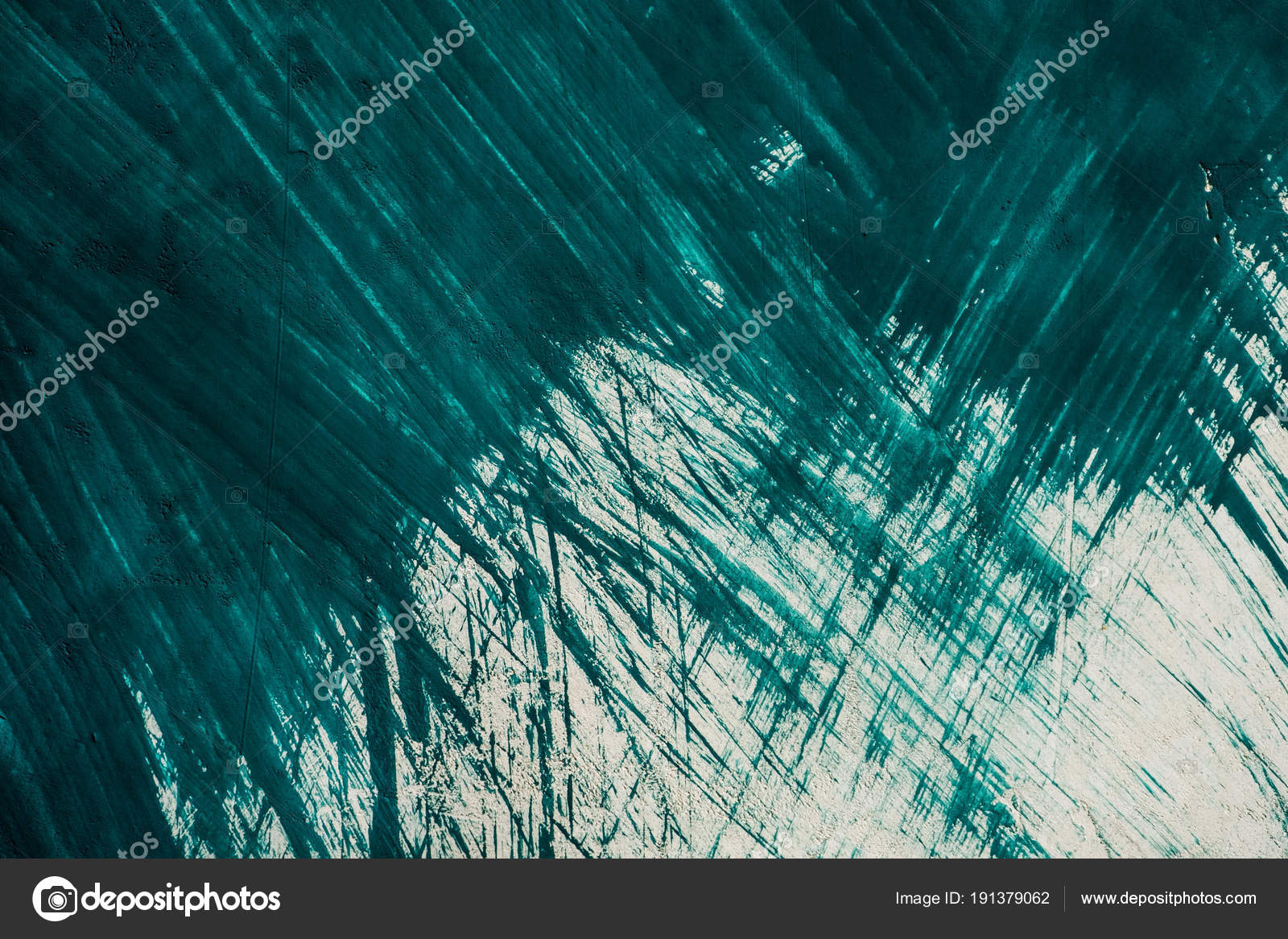 White Textured Wall Painted Rough Brush Strokes Blue Paint Stock