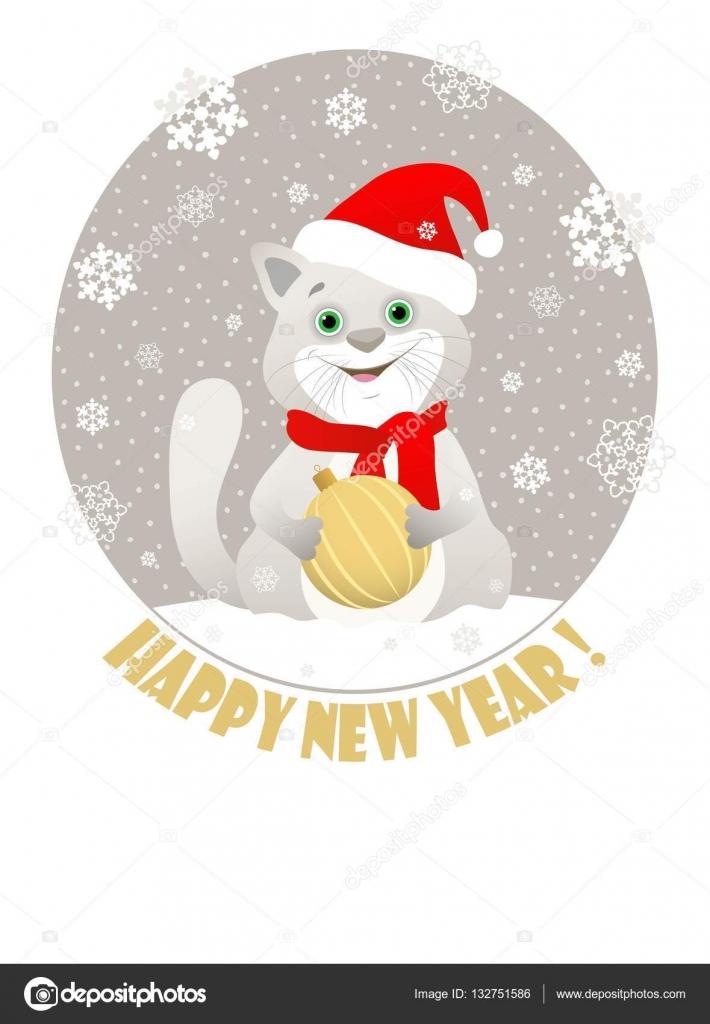 6215300cc25 Blahopřání z kulatého tvaru s obrazem cartoon šedá kočička v červený Santa  čepice a červená šála s zlatý vánoční kouli na šedém pozadí s sněhové vločky .