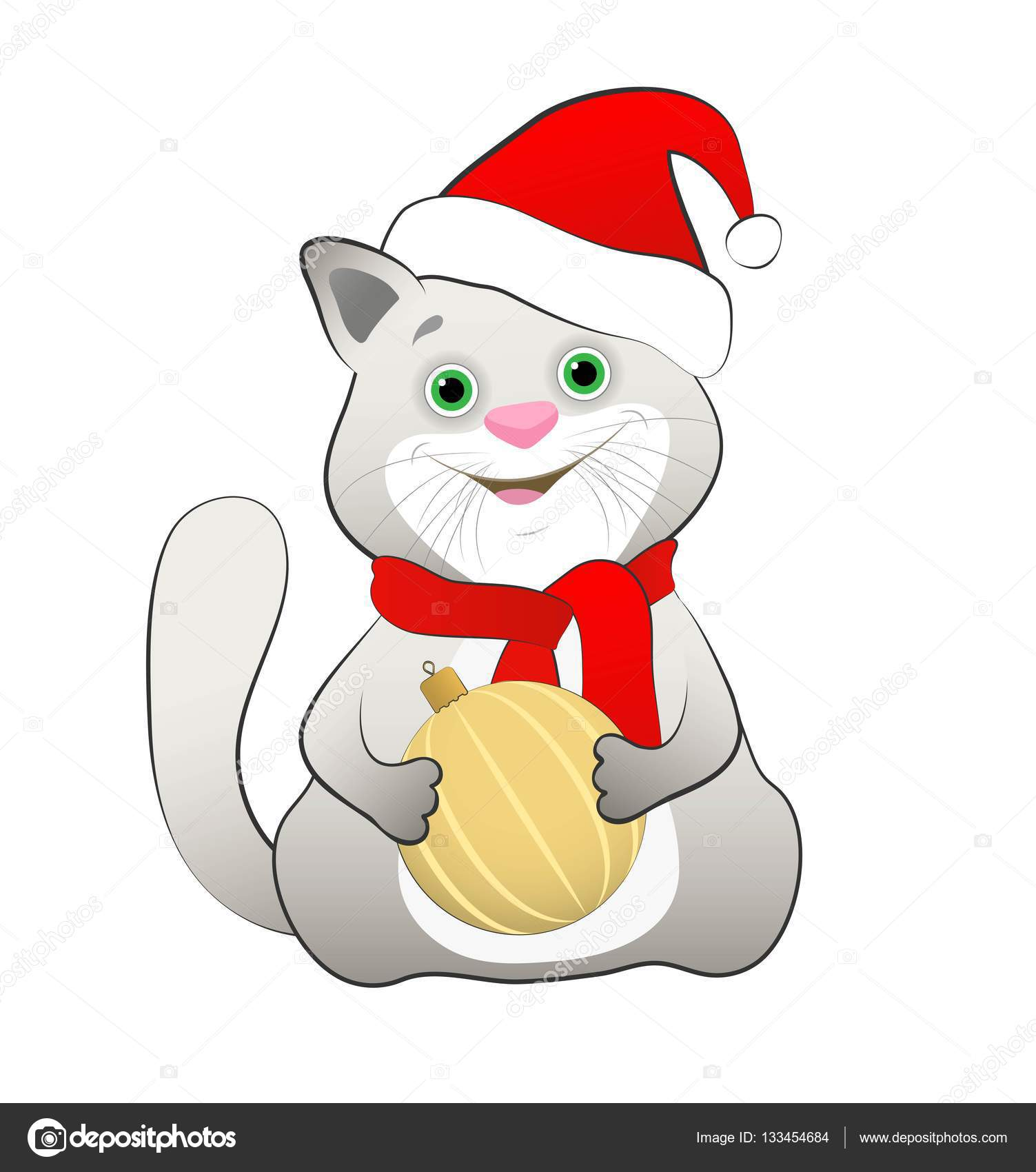 Photo d un chat de dessin anim dans un bonnet rouge avec boule de no l image vectorielle ele - Dessins de noel en couleur ...