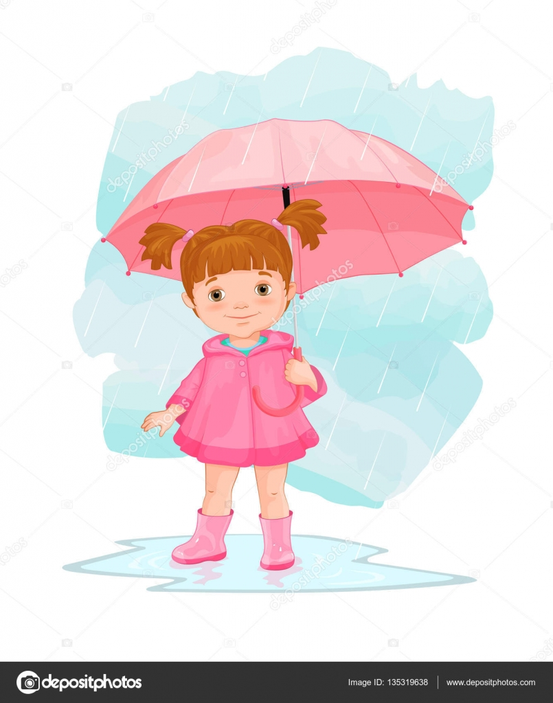 cartoon image of little with umbrella standing in the rain in