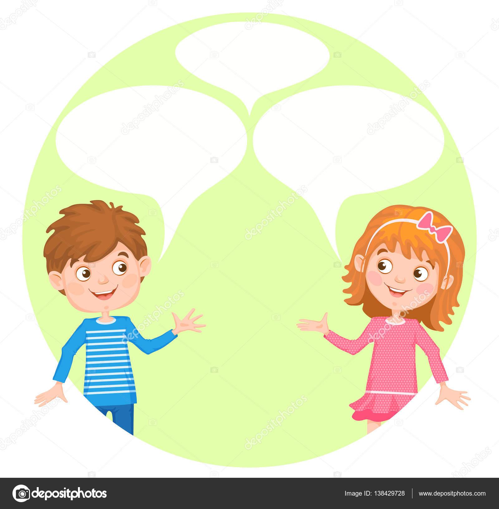 Abbildung mit einem jungen und Mädchen und Luftblasen für text ...