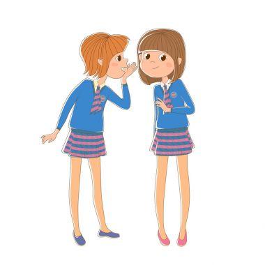 Two schoolgirls stand around and gossip.
