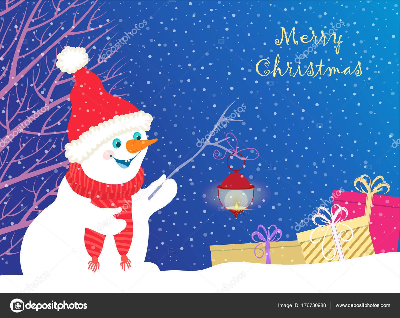 612cb963140 Radostné sněhulák v červené Santa čepice a červená šála s svítící baterku  objevovat pole s dary a stojící na pozadí modré oblohy