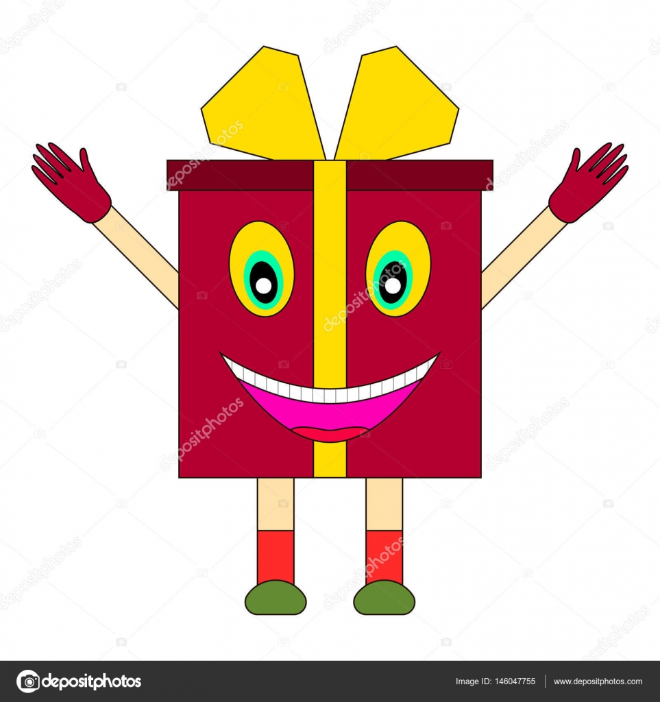 A live gift box with eyes mouth hands and legs on white background a live gift box with eyes mouth hands and legs on white background gift box with funny face and ribbon bow cartoon character negle Choice Image