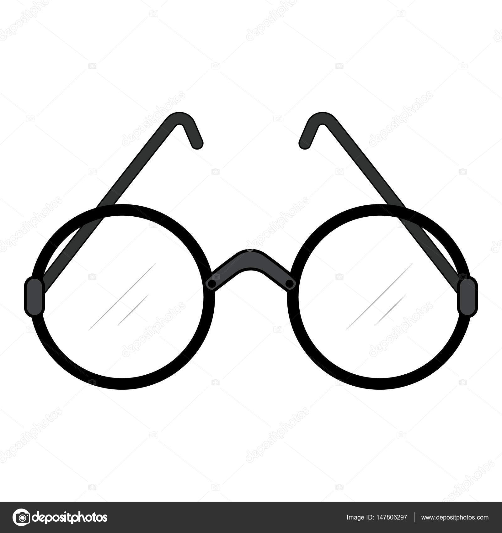 aacfa4fbfa69 Glasses with round lens and design retro style. Vector glasses icon. — Stock  Vector