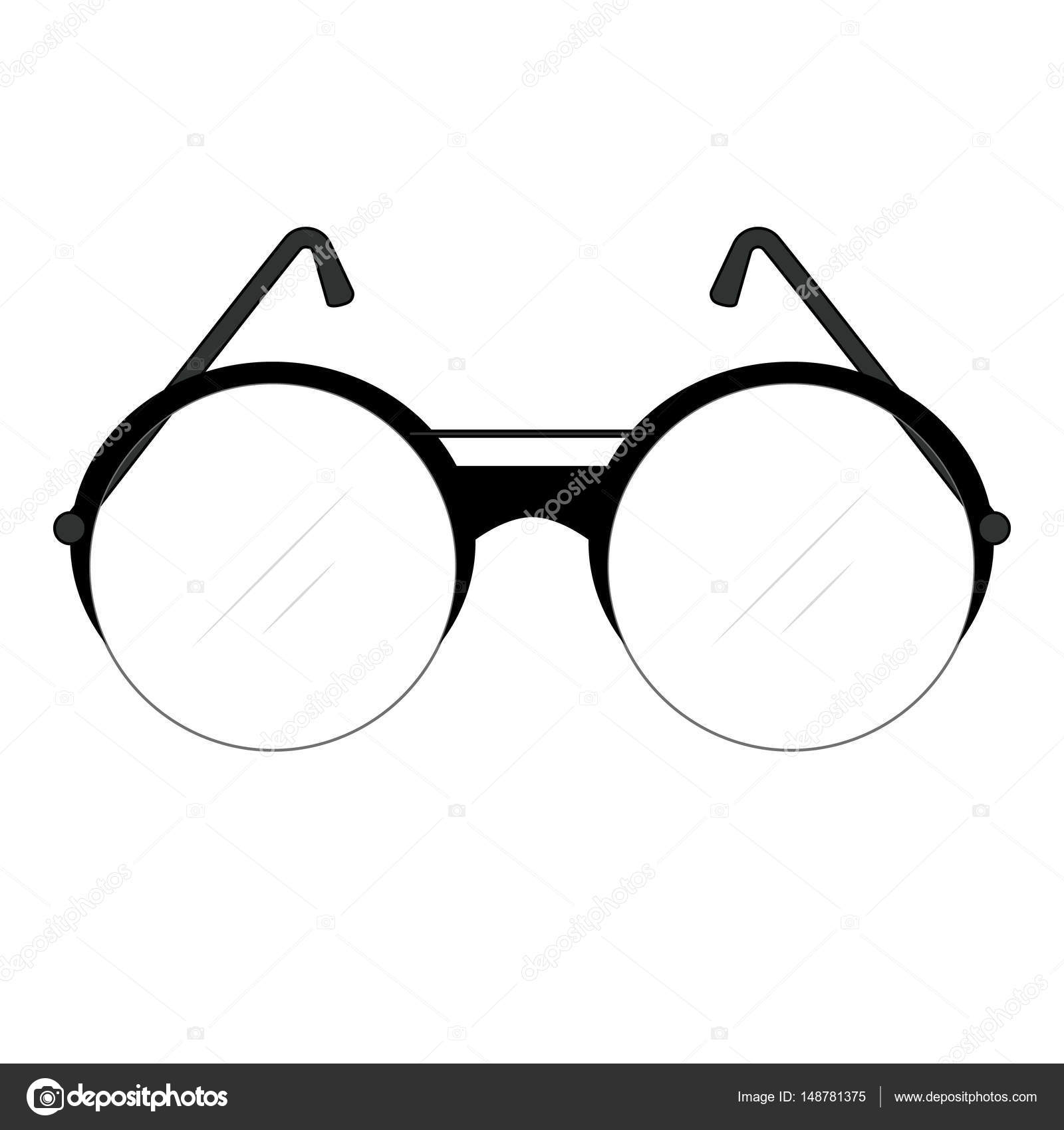 c17baea14ade Classic retro fashionable glasses with round lenses and temples with frame  and lenses of circle shape for men. Vector drawing.