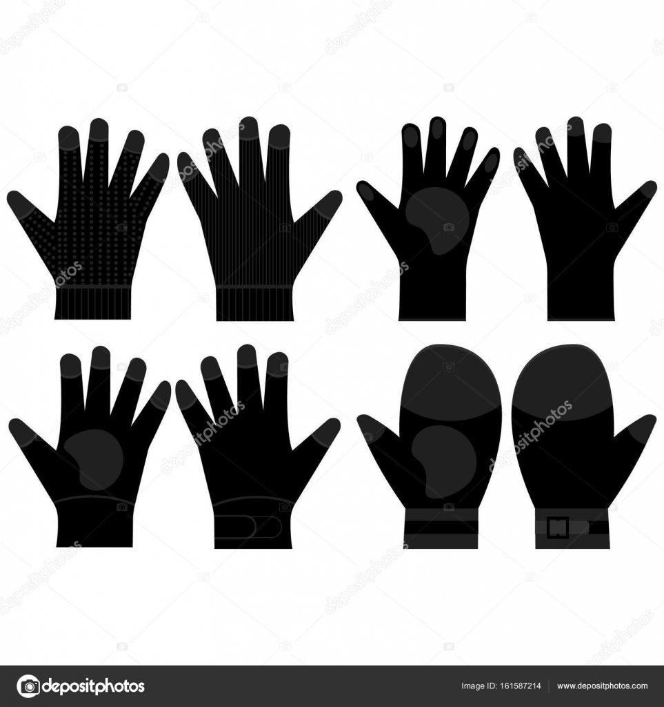 set silhouette black pair gloves for work collection couple