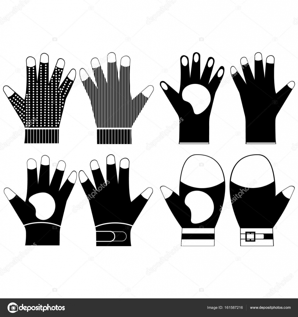 set silhouette black pair gloves for work stock vector