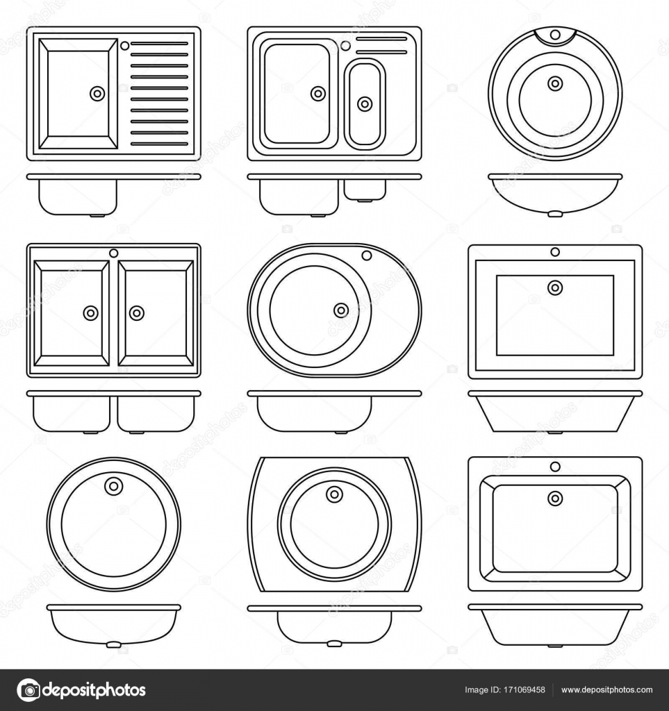 Set Collection Kitchen And Bathroom Sinks Transparent Outline Icons Stock Vector Image By C Simvolist 171069458