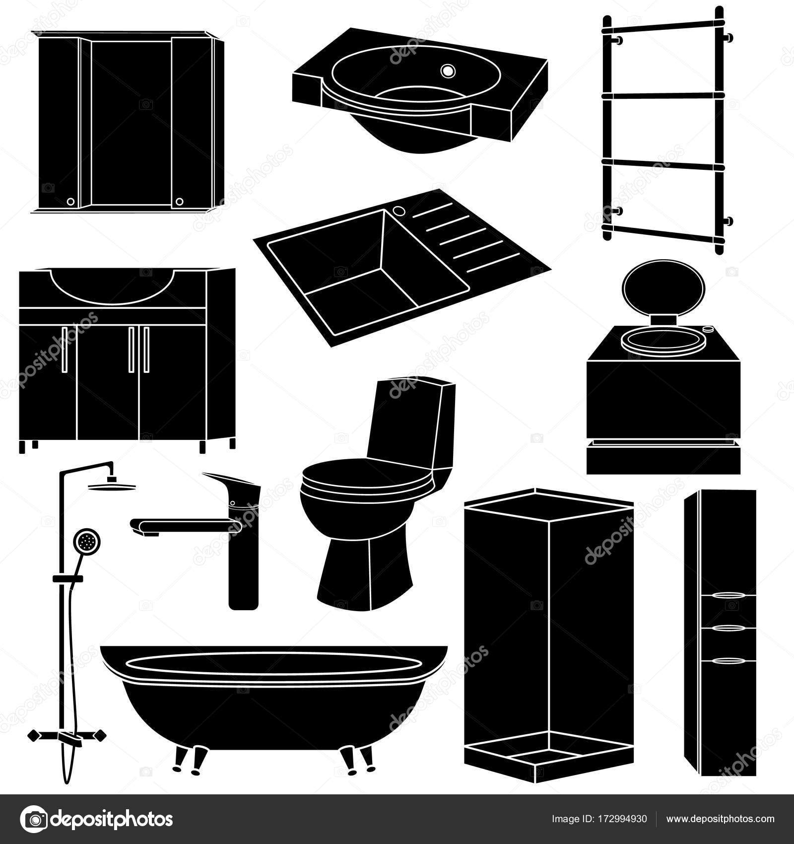 Kitchen Furniture Silhouette: Set Collection Black Silhouette Icons Of Sanitary Ware And